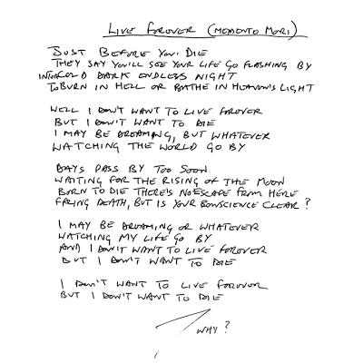 Handwritten Sabbath Lyrics for 'Live Forever'