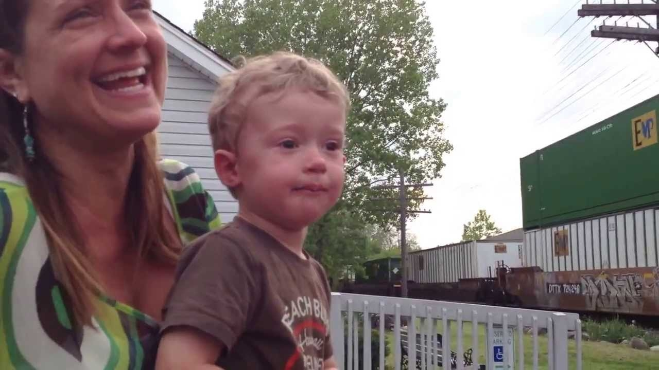 Engineer's Son Realizes His Dad is Driving Passing Train....