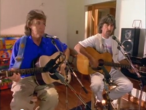 Paul, George & Ringo playing 'Blue Moon of Kentucky.'
