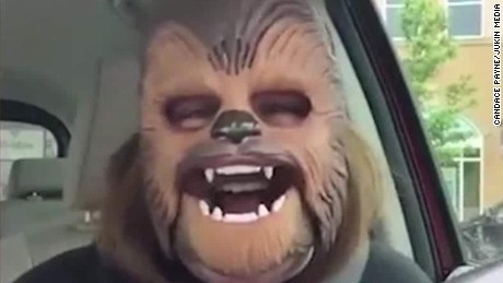 Mom with Chewbacca Mask Takes on James Corden...
