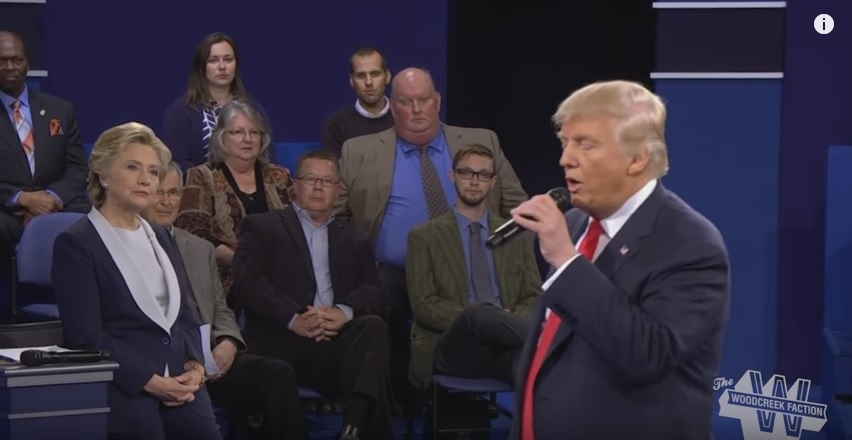 The debate with Donald Trump singing Mahna Mahna song....
