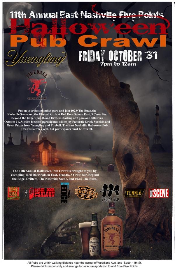 the East Nashville, Five Points, Halloween Pub Crawl | 102.9 The Buzz