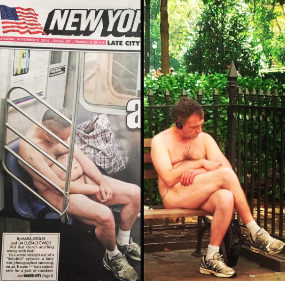 NUDE GUY ON THE e TRAIN NAKED ON PARK BENCH