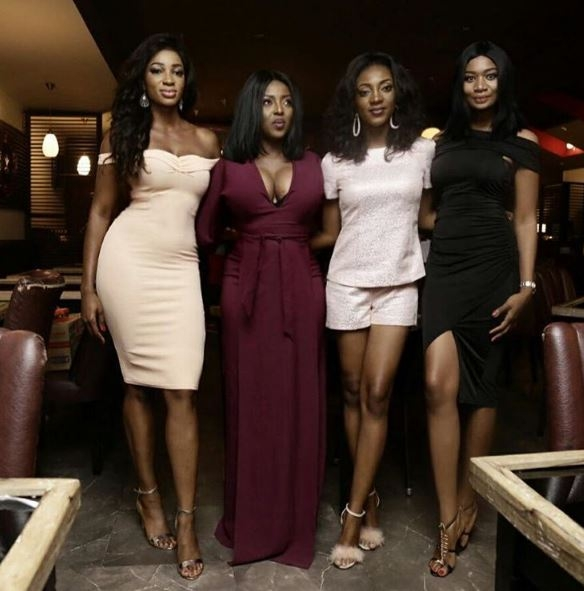 Yvonne Okoro shows off 'boobs' in new photo with sisters and Sandra Ankobiah