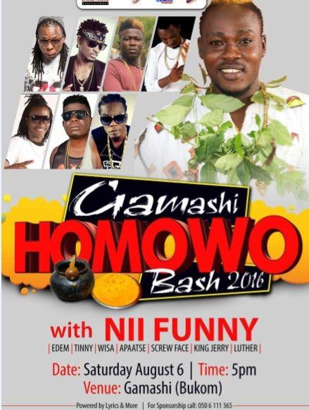 Nii Funny to headline Gamashi Homowo Bash with Edem, Tinny, Wisa and more