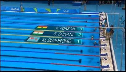 #Rio2016: Ghanaian swimmer Kaya Forson placed last in a group of three