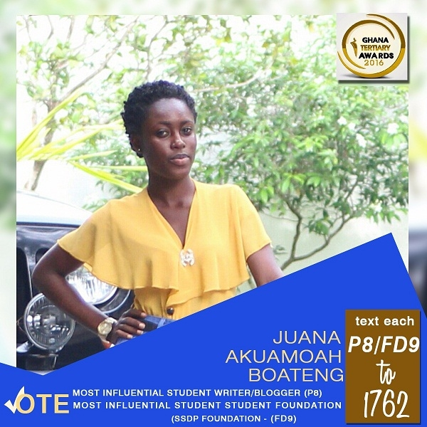 Juana Akuamoah Boateng nominated for two categories in the Ghana Tertiary awards