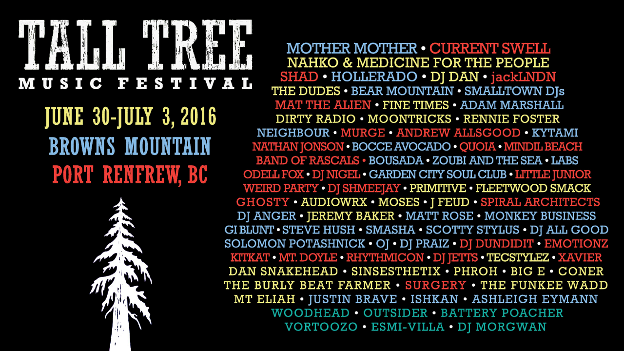 Tall Tree Music Festival lineup announcement!